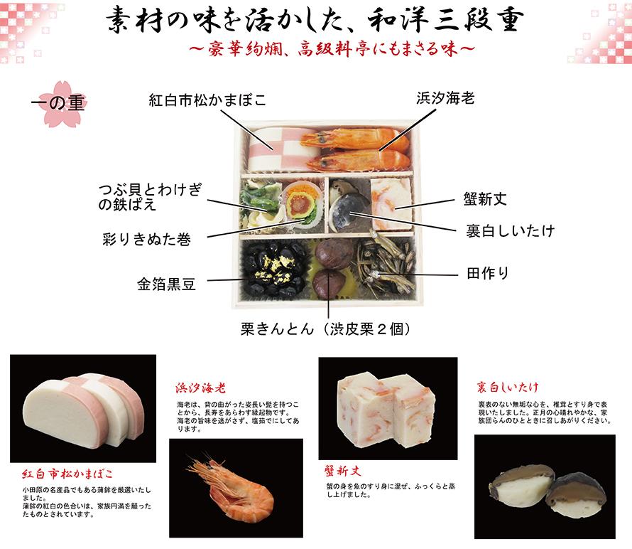 素材の味をいかした和洋三段重その1